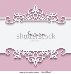 Cutout paper lace frame, vector greeting card or invitation template, eps10 - stock vector