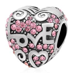 Babao Jewelry Fine Love Heart PinkCZ Crystals 925 Sterling Silver Bead fits Pandora Style European Charm Bracelets