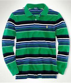Classic Long-Sleeved Stripe Polo Green Ralph Lauren Long Sleeve, Polo Ralph Lauren, Lots For Sale, Polo Shirt, Classic, Green, Sleeves, Mens Tops, Shirts