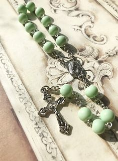 Excited to share this item from my shop: Handmade mint green glass beaded single decade Rosary Bracelet, Rosary Beads, Beaded Bracelets, Rosaries, Crucifix, Czech Glass Beads, Mint Green, Antique Silver, Wedding Gifts