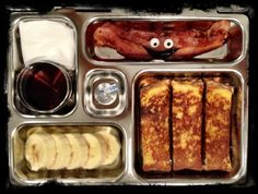 Kids Planetbox silly lunch french toast, bacon, banana, 100% maple syrup and a kiss <3 CLICK THE PICTURE FOR MORE!