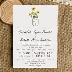 Invitation sizes also on this page envelope stylessizes simple rustic wedding invitations with sunflower mason jars ewi355 filmwisefo