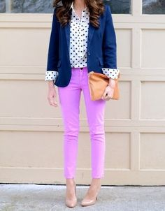love the pops of color! lilac with navy blue blazer & polka dots are a classic!