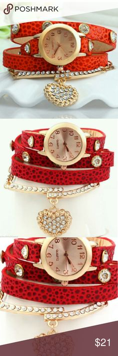Wild Gypsy Vintage Leopard Leather  Wrap Wrist Watch  With Heart Rhinestone Pendant   Brand New  Bundle Discount  Military Discount Available Accessories Watches