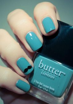#turquesa #mani #pedi #mustache #nails #ideas