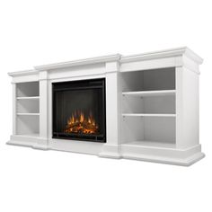 Electric Fireplace in living room, build in to make it look like it was always there.