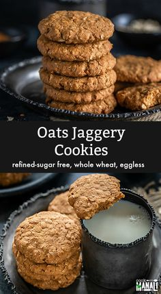 Oats Jaggery Cookies flavored with cardamom, cinnamon, nuts and free of refined sugar. These crispy cookies are eggless and make a nice treat with coffee of chai! Eggless Cookie Recipes, Oat Cookie Recipe, Eggless Desserts, Eggless Baking, Cookie Flavors, Biscuit Recipe, Delicious Desserts, Baby Food Recipes, Baking Recipes