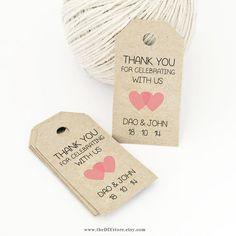 Favor Tag Template, Printable SMALL Double Heart Design, Wedding Tag, Gift Tag - Wedding Labels - Hang Tags, DIY Digital Printable