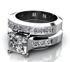 Princess Cut Diamond Wedding Set Dallas Engagement Wedding Rings TX The thick bands are my favorite! if it was yellow gold it would be perfect. such a pretty ring Diamond Rings, Diamond Engagement Rings, Diamond Jewelry, Jewelry Rings, Jewellery, Solitaire Engagement, Gold Jewelry, Ring Ring, Diamond Wedding Sets