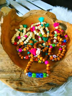 To complete your armstack, wooden beads bracelet with your initial  handmade jewelry by MomMa