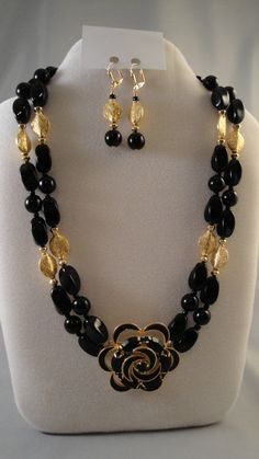 Black Onyx and Gold Elegant Statement Necklace by BeadDelish