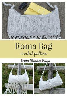 Roma Bag crochet pattern from Blackstone Designs  #crochet #crochetpattern #bohobag #boho #crochetpurse #crochetbag #crochethandbag #handbagpattern #RomaBag Free Crochet Bag, Crochet Gifts, Crochet Bags, Crochet Clutch Bags, Knitting Designs, Crochet Designs, Crochet Patterns, Purse Patterns, Crochet Ideas