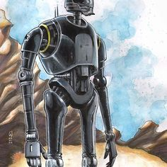 @warlick Finished K-2SO color sketch from Rogue One. Ink, Marker and Colored Pencil on 9x12 Bristol. For sale in the shop. Link in bio.  #art #kunst #アート #artwork #artofwarlick #ink#sumi #starwars #rogueone #K2S0 #kaytoo #droid #Imperial #watercolor #chameleonmarkers #chameleonpens #alantudyk