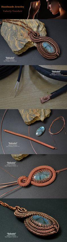 Pendant made of copper wire and labrador