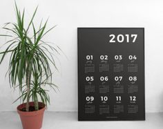 2017 Wall Calendar Grey | 2017 Calendar, Printable Calendar, 2017 Planner, Wall Calendar, 2017 Wall Art, Wall Decor, Calendar Art, Digital  January Made Design is pleased to announce the launch of the 2017 A3 Wall Calendar! The signature minimalistic and monochrome A3 Wall Calendar is the perfect accessory to frame and hang in your workspace or home for the exciting year ahead.   _______________________________  WHAT YOU GET:  1x A3 PDF file  ________________________________   Your prints…
