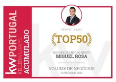 Entre os 50 melhores consultores imobiliários da KW Portugal no 1.° trimestre de 2016.
