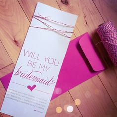 Hot Pink Twine Will You Be My Bridesmaid Card and by paperkrush, $7.50