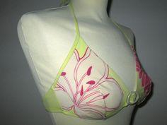 * * * Wolford SWIMWEAR Bikinioberteil gelb/weiß/pink, Gr.L * * * Wolford, Strand, Drawstring Backpack, Detail, Swimwear, Bags, Fashion, Pink Stuff, Clothing Accessories