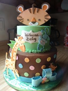 Fisher Price Rainforest Theme A 9 inch and 6 inch cake made to match the fisher price rain forest theme, it was much more work then I. Baby Shower Cakes, Baby Shower Parties, Baby Shower Themes, Baby Boy Shower, Baby Shower Decorations, Shower Ideas, Shower Party, Fondant Cake Toppers, Cupcake Cakes