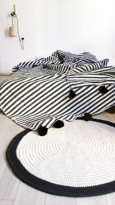 Image of Moroccan POM POM Cotton Blanket  -  Stripes Black and pompom Black