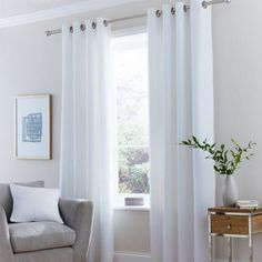 Dunelm Fully Lined White Vermont Eyelet Curtains
