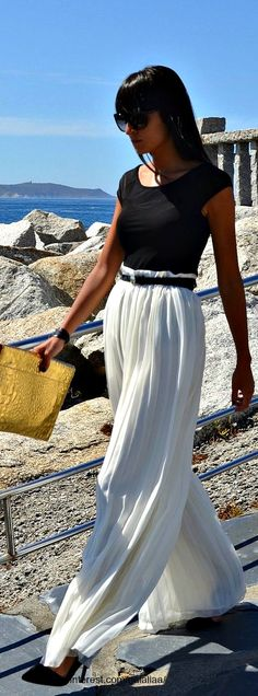 Spring / summer -beach look - black top + white pants~these pants are all over fall fashion trends web sites! Live 'em!