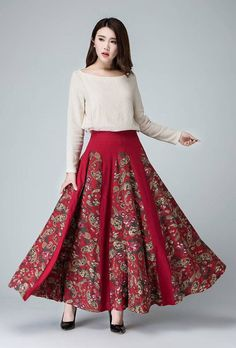 floral skirt Linen skirt red maxi skirt flower skirt by xiaolizi Floral Skirt Outfits, Denim Skirt Outfits, Flower Skirt, Linen Skirt, Mode Hijab, Vintage Skirt, Fall Dresses, Dress Skirt, Kid Styles