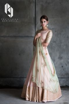 Peach And Mint Green Lehenga Blouse Indian Bridesmaid Outfit - Peach And Mint Green Lehenga Blouse Indian Bridesmaid Outfit Indian Designer Lengha Skirt Blush Peach Wedding Dress Summer Bridal Wear The Color Isnt Exactly Like The Original Pink Mint Gre Indian Bridal Fashion, Indian Wedding Outfits, Indian Outfits, Indian Engagement Outfit, Indian Reception Outfit, Indian Attire, Indian Clothes, Bridal Outfits, Indian Wear