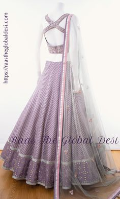 BRIDAL LEHENGA ONLINE Featuring a lavendar lehenga. This lehenga is beautified with heavy embroidery & lace work within the attire . Indian Dresses For Women, Indian Fashion Dresses, Teen Fashion Outfits, Indian Skirt And Top, Dress Indian Style, Indian Party Wear, Indian Bridal Outfits, Lehenga Blouse, Lehenga Choli
