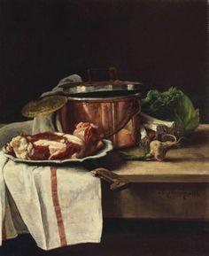 Nature morte au chou, poireaux, ail et boeuf par un pot de cuivre 1880
