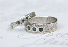 recycled silver and sapphire wedding ring set