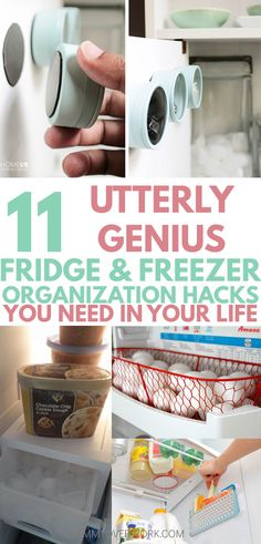 These awesome DIYrefrigerator organization hacks are so simple to do! Extra space on shelves are great for small fridges. Great tips to help it stay clean too! Egg basket idea is so ADORABLE. Icee one genius! #lifehacks #kitchenorganization #homemaking