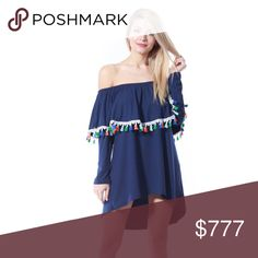 Navy Blue tassel details top Brand new Boutique item  Oh so fun and playful tunic top featuring a lovely navy blue color, tassel details, sassy off shoulder style and comfy fit. Pair with denim shorts, leggings and jeans or even over a bikini to the beach!     *Fringe tassel vacation tropical holiday party girl a night popular cold shoulder SASSY Boutique. Tops Tunics
