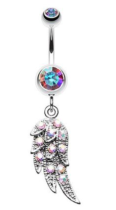 Sparkle Angelic Wing Belly Button Ring - 14 GA (1.6mm) - Aurora Borealis/Rainbow - Sold Individually