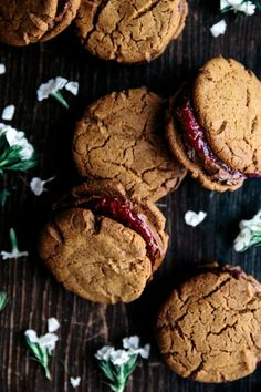 Vanilla Spelt Cookies with Avocado Chocolate Filling & Berry Chia Jam     Gather & Feast
