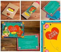 How about this colorful and quirky wedding stationery ? Get in touch for more ideas like these. Thousand Words 9560486182 Illustrated Wedding Invitations, Indian Wedding Invitation Cards, Wedding Invitation Card Design, Indian Wedding Cards, Creative Wedding Invitations, Wedding Card Design, Wedding Stationery, Invites, Invitation Ideas