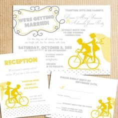 Vintage Bicycle Sillouhette Wedding Invitation