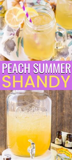 Peach Summer Shandy is a simple 3 ingredients beer cocktail made with a light beer, lemonade, and peach brandy. Peach Summer Shandy is a thirst-quenching summertime beverage that caters to both cocktail and beer lovers. Beer Cocktail Recipes, Beer Recipes, Drinks Alcohol Recipes, Drink Recipes, Fast Recipes, Punch Recipes, Brandy Cocktails, Brandy Slush, Vodka