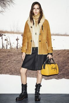 Yellow back and black leather boots at Coach, Ready to Wear Fall '15