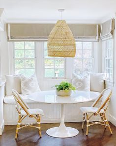 The clean simplicity of Scandinavian design meets the airy look of an open-weave pendant. Banquette Seating In Kitchen, Kitchen Benches, Dining Nook, Dining Table In Kitchen, Dining Chairs, Lounge Chairs, Dining Room Bench Seating, Side Chairs, Patio Dining
