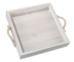 Lillian Rose 14″x12.25″ rustic white square wood wedding tray with rope handles. Possibilities are endless with this antique white wood tray. Rope handles give this tray a unique coastal touch. Tray measures 11.75 inch and easily fits into a variety of home decor styles. Collect your favorite sea shells, stones or treasures in this tray.
