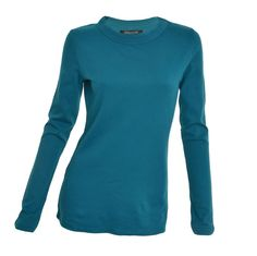 Central Park West Womens Top Crew Neck Small Long Sleeve T-Shirt Blue Teal NEW #CentralParkWest #KnitTop #Casual