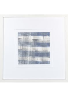 """Grey Plaid"" by Ellen Levine Dodd - Monoprint on heavy archival cotton rag paper framed in contemporary white wood frame -  17"" x 17"" - available for sale"