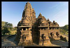 Lakshmana temple seen from Matangesvara temple. Khajuraho, Madhya Pradesh, India