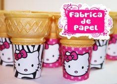 hello kitty inspired flat bottom ice cream cone labels wrappers in pink and zebra