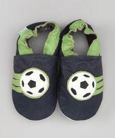 Take a look at this Black & Green Soccer Leather Booties on zulily today!