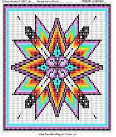 """""""Love this for a bead loom pattern"""" This is a Christy Williams design! She had this as her Powwows.com avatar for years; which is how it got stolen and uploaded to a free bead pattern website. Christy herself has said on FB, that the center of this design(her original) is not a flower, and is more detailed than the stolen """"copied"""" version. https://www.facebook.com/thebeadinfool?fref=ts"""