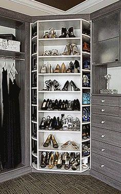 360 Rotating Shoe Closet - Shoe Spinner Model Closet Works 360 Organizer by Lazy Lee – Shoe Spinner Walk In Closet Design, Wardrobe Design Bedroom, Master Bedroom Closet, Closet Designs, Master Closet Design, Closet Renovation, Closet Remodel, Revolving Shoe Rack, Rotating Shoe Rack