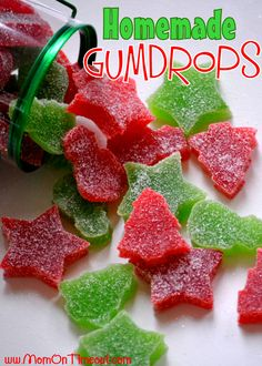 "Homemade gumdrops. ""This recipe was so much fun!  The best part is that they are SO easy!  It's like making jello and then dipping them in sugar – so simple yet so delicious."" Can't wait to try these."