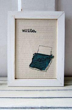 Screen print / Linocut print - 5 x 7 Write Typewriter Fabric Print - Teal Blue